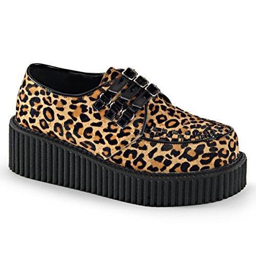Demonia Womens CREEPER-112 Creepers Boots, Tan Leopard Print Faux Fur-Blk Pat, Size - 7 Demonia Fur Boots