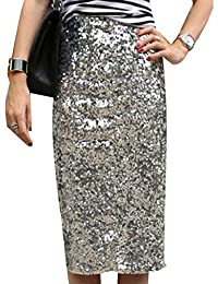 Naliha Womens Sequin Skirt High Waist Party Knee Length Office Pencil Skirts