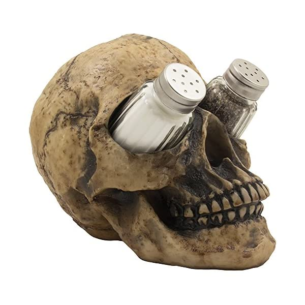 Scary Evil Human Skull Salt and Pepper Shaker Set Figurine Display Stand Holder for Spooky Halloween Party Decorations & Gothic Kitchen Decor Collectible or Novelty Gifts by Home-n-Gifts 51zsiDfSDuL