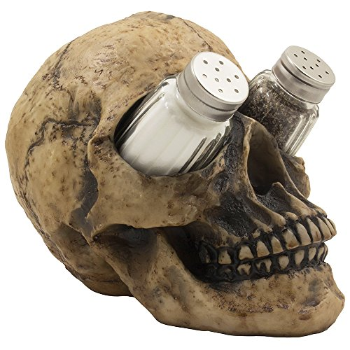 Scary Evil Human Skull Salt and Pepper Shaker Set Figurine Display Stand Holder for Spooky Halloween Party Decorations & Gothic Kitchen Decor Collectible or Novelty Gifts by -