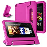 kindle fire protection case - AFUNTA Fire 7 2015 Case,Light Weight Shock Proof Convertible Handle Stand EVA Protective Kids Case for Amazon Fire 7 inch Display Tablet (5th Generation - 2015 Release Only)-Rose Red