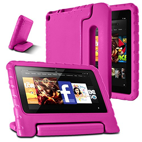 AFUNTA Fire 7 2015 Case,Light Weight Shock Proof Convertible Handle Stand EVA Protective Kids Case for Amazon Fire 7 inch Display Tablet (5th Generation - 2015 Release Only)-Rose Red