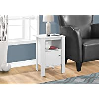Monarch Specialties I 2137 Accent Table Night Stand with Storage, White