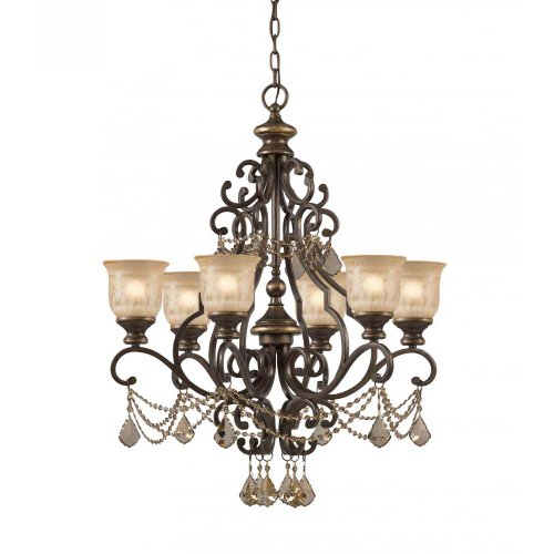 Six Chandelier Accents Light (Crystorama 7516-BU-GT-MWP Crystal Accents Six Light Chandeliers from Norwalk collection in Bronze/Darkfinish,)