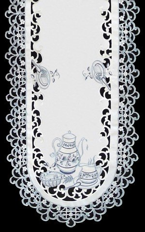 Sinobrite H8513 Delft Blue Tea Oval Runner44; 16 x 72 in.
