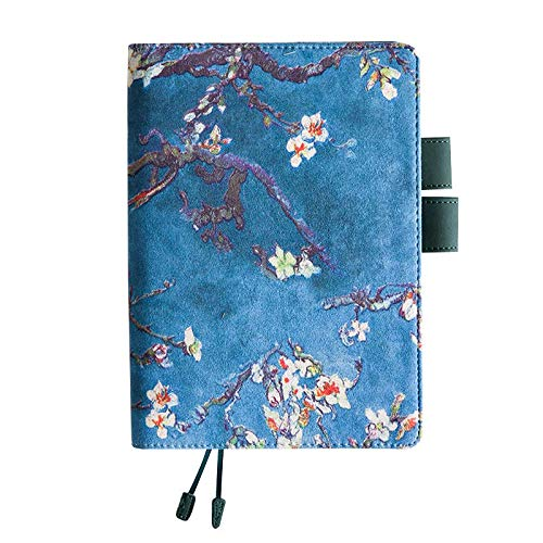 Chris.W Refillable A5 Planner PU Leather Cover Notebook with Pen Holder Loop, Business Cards Pockets and Page Markers, Inner Pages Included(Almond Blossom)