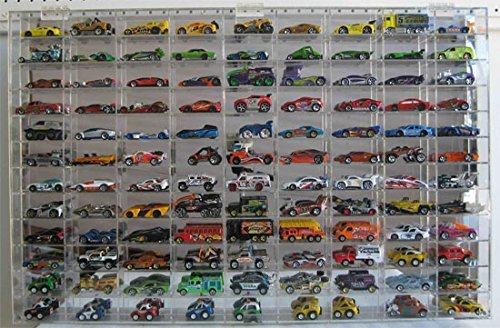 (1:64 Scale Toy Cars Wheels Display Case Wall Cabinet Rack 108 Compartment, Clear, UV Protect Hot-AHW64-108)