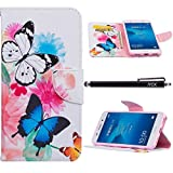 Huawei Y6 2 Case, Huawei Y6II Case, iYCK Premium PU Leather Flip Folio Carrying Magnetic Closure Protective Shell Wallet Case Cover for Huawei Y6 II/Y6 2 with Kickstand Stand - Butterfly Flower