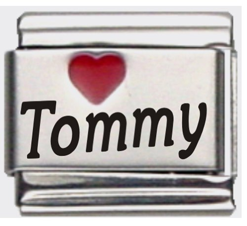 Tommy Red Heart Laser Name Italian Charm Link