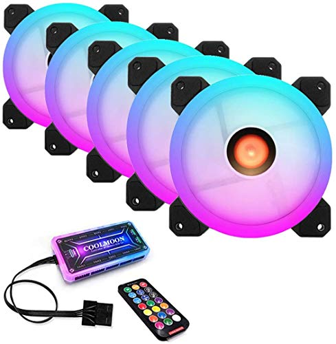 COOLMOON Sunshine 120mm RGB Computer Case PC Cooling Fan with IR Controller Quiet Adjustable Colorful Cooling Cooler Computer Cooler RGB CPU Case Fan (5pcs Fan+ Standard Controller)