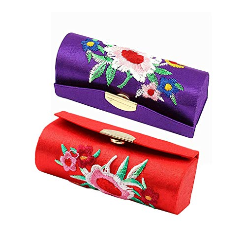 Metrical Lipstick Case Holder for Purse Retro Flower Print Lipstick Case with Mirror (Red and Purple)
