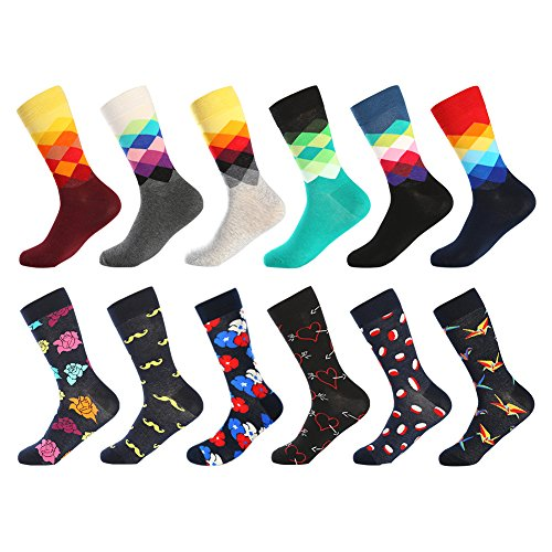 Bonangel Men's Fun Dress Socks - Colorful Funny Novelty Crazy Fashion Office Crew Socks Pack with Bright Argyle Patterns,Cool Black Floral Casual Socks for Men (12 Pairs-Pattern (Bright Argyle Socks)