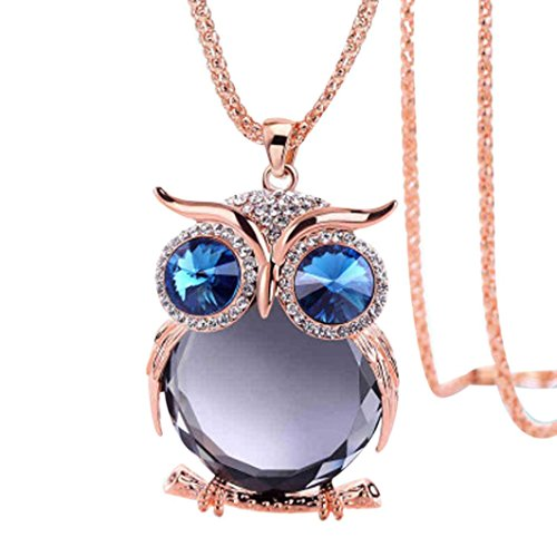 Challyhope Lucky Cute Owl Pendant Crytal Graceful Sweater Chain Long Necklace Jewelry Gifts For Womens Girls (Rose Gold + Grey, Alloy) ()