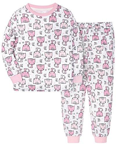 HONGLIN Boys Girls 2 Piece Top and Pants Pajama Set Printing Cat 100% Cotton (Kitty, (Kitty Cat Pant)