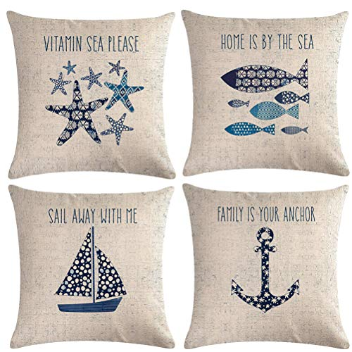 7ColorRoom Navigation&Beach Style Throw Pillow Cover Sea Theme&Beach with Anchor/Sailboat/Fish/Starfish Pillowcase Set of 4 Nautical Decorative Cushion Cover 18