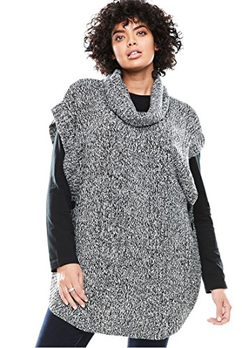 Woman Within Plus Size Marled cowl neck poncho, Black White, L
