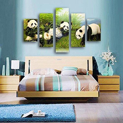 ALCYONEUS 5 Panels Modern Print Bearcat Panda Picture Home Wall Decor Art - Panda Picture Frame