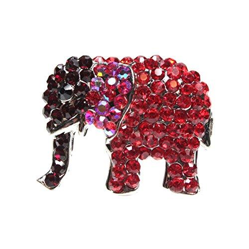 Red Rhinestone Adjustable Elephant Ring - BSJ Nature and Animal