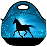 New Fashion Travel Outdoor Cooler Thermal Waterproof Lunch Bag Picnic Tote Box Container Insulated Zip Out Removable School Carry Handle Tote Lunch bag - Horse & Blue D-18762