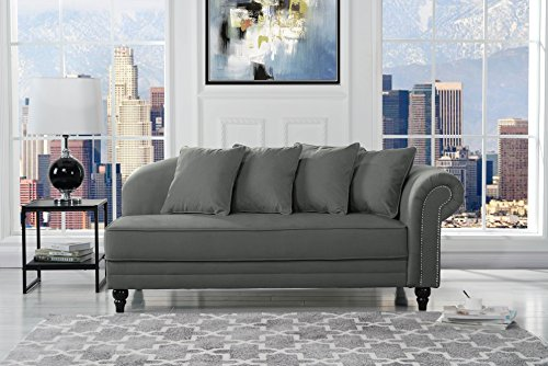 Fabric Lounge Chaise (Large Classic Velvet Fabric Living Room Chaise Lounge with Nailhead Trim (Dark Grey))