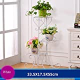 YF Iron Flower Frame Floor Style Flower Bed Frame Indoor And Outdoor Living Room Balcony Flower Rack 3 Layers (33.517.555cm) (Color : White)