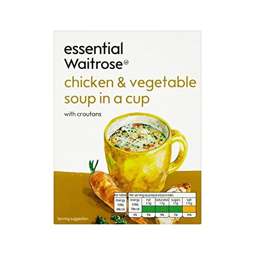 Chicken & Vegetable Cup Soup essential Waitrose 4 x 18g - Pack of 6