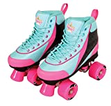 Kandy Kid's Roller Skates - Comfortable Children's Skates with Fun Colors and Designs (Summer Days Teal and Pink) (Size 12 Junior)