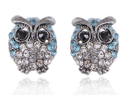 Alilang Silvery Tone Light Blue Rhinestones Cute Baby Owl Bird Stud Earrings