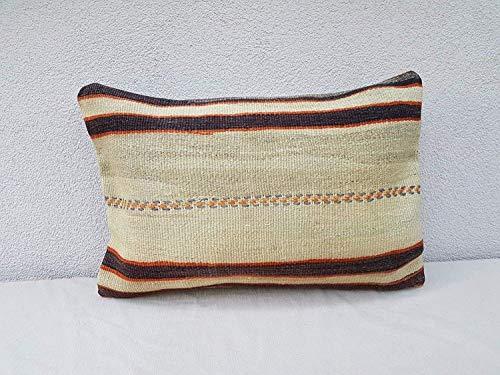 Hand Embroidered Decorative Kilim Throw Pillow Cover, Turkish Kilim Cushion Cover, Vintage Handmade French Decor Grainsack Wool Kilim Rug Pillow Cover 24'' x 16'' (40 x 60 Cm)
