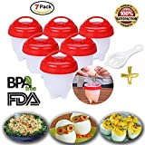 omlet recipes - Egglettes Silicone Egg Cooker Set - Non Stick Egg Poachers AS SEEN ON TV, FREE EGG SEPERATOR Hard Boiled Eggs without the Sheel, BPA Free, Soft Hard Boiled (7 Packs)
