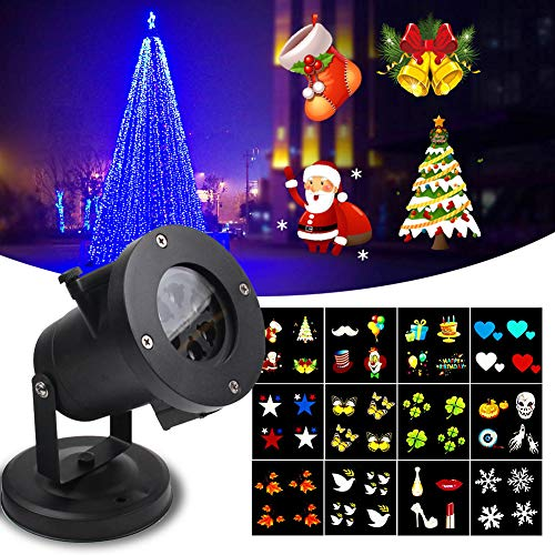 KOOT Christmas Light Projector, Holiday Outdoor Waterproof Landscape Garden Range 40ft Projection Distance with 12 Festive Designs Slides for Holiday Birthday Wedding Dance Party etc from KOOT