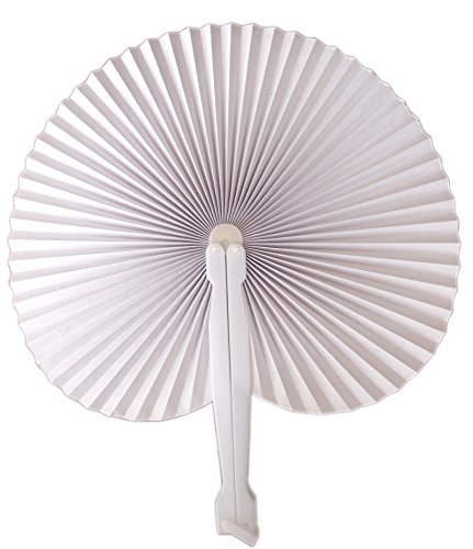 Quasimoon PaperLanternStore.com 9 Inch White Chinese Folding Accordion Paper Hand Fan for Weddings (10 Pack)