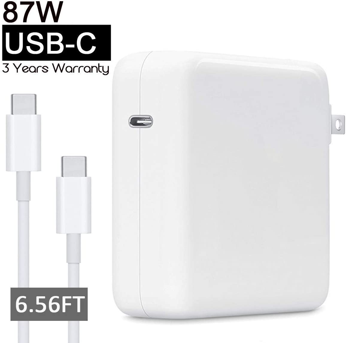 87W Power Adapter Compatible with Apple MacBook Pro Air 2018 USB C Charger 15 13 inch Include Charge Cable(2M)