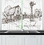 Ambesonne Windmill Decor Kitchen Curtains, Rustic Barn Farmhouse Hand Drawn Illustration Countryside Rural Meadow, Window Drapes 2 Panel Set for Kitchen Cafe, 55 W X 39 L Inches, Taupe White For Sale