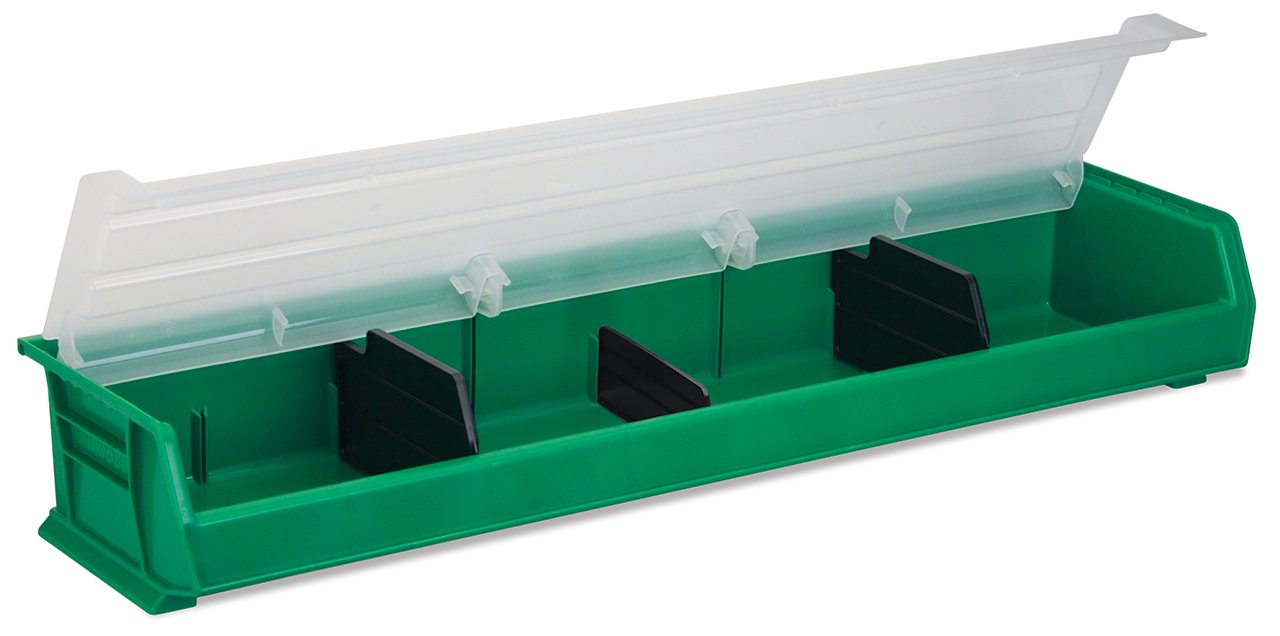 Akro-Mils 30320 8-Inch by 33-Inch by 5-Inch Wide Plastic Storage Stacking Akro Bin, Blue, Case of 4 by Akro-Mils (Image #2)