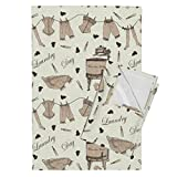 Roostery Technology Tea Towels Gadgets Geek Retro Outdated Technology Laundry Vintage by Jabiroo Set of 2 Linen Cotton Tea Towels