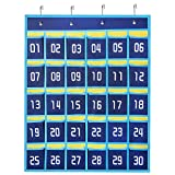 Numbered Classroom Pocket Chart for Cell Phones and Calculator Holder,Wall Door Hanging Storage Organizer 30 Pockets (Blue)