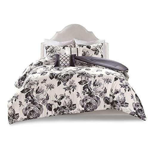 Intelligent Design Dorsey Comforter Reversible Flower Floral Botanical Printed Ultra-Soft Brushed Overfilled Down Alternative Hypoallergenic All Season Bedding-Set, Full/Queen, Black/White