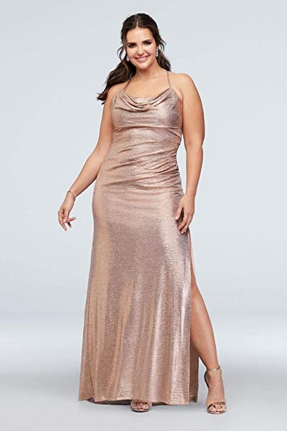 David S Bridal Metallic Cowl Neck Plus Size Dress With