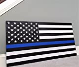 Cheap 36″ x 19″ Large Hand-Crafted Thin Blue Line Wood American Flag Honoring our Police / Law Enforcement