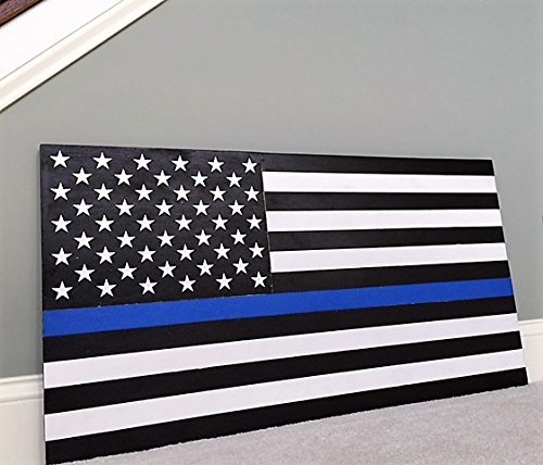 36'' x 19'' Large Hand-Crafted Thin Blue Line Wood American Flag Honoring our Police / Law Enforcement