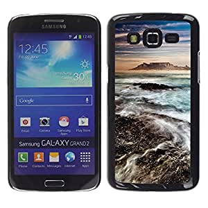 LECELL--Funda protectora / Cubierta / Piel For Samsung Galaxy Grand 2 SM-G7102 SM-G7105 -- Sea Water Mountain Volcano Blue --