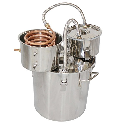 Suteck 8 Gal 30L Stainless Steel Water Alcohol Distiller Copper Tube Moonshine Still Spirits Boiler Home Brewing Kit with Thumper Keg