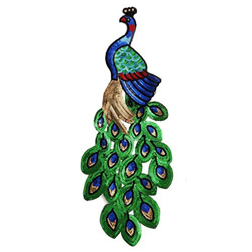 Zadaro Large Heat Iron on Embroidered Sequins Peacock Applique patches Sewing Trim Garment Decoration DIY Motif Green Blue