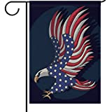 ALAZA Patriotic Eagle Garden Flag Yard Decoration, 4th Of July Memorial Day Independence Day USA American Flag Double-sided Polyester House Banner for Home Outdoor Anniversary Decor, 12'' x 18''