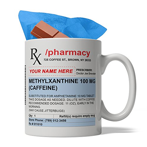 BijouLand - Personalized Custom Pharmacy Prescription Ceramic Coffee Mug, 11-ounce, USA Fast Shipping, Sweet Gift inside, Pharmacist Birthday Gift Idea