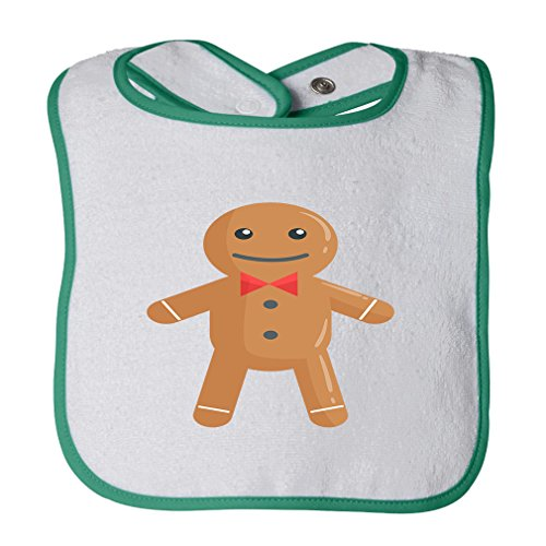 Gingerbread Cotton Terry Unisex Baby Terry Bib Contrast Trim - White Green, One Size -