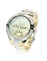 Mens Luxury Heavy Plated Metal Gold Silver Baller Analog Round Quartz Dress Watch