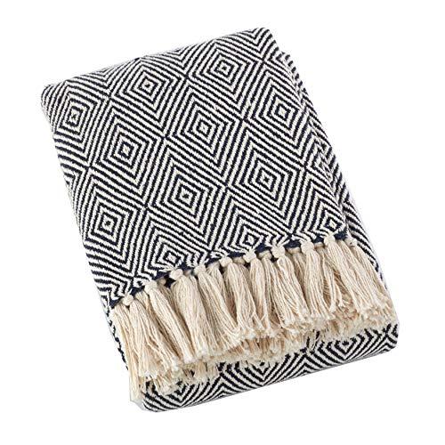 Fennco Styles Sevan Collection Soft 100% Cotton Diamond Weave Throw Blanket, 50