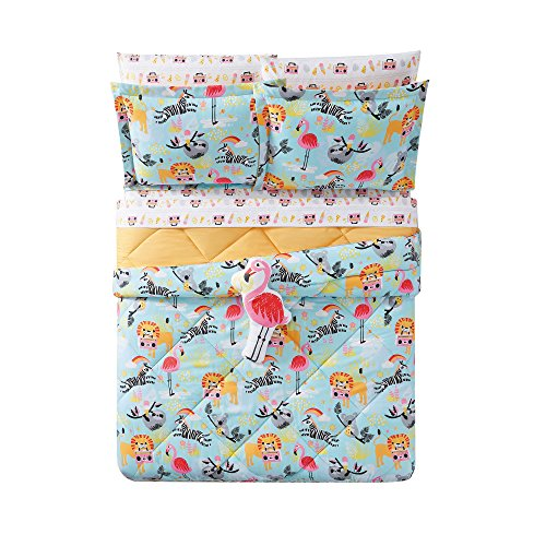 3 Piece Kids Blue Party Animal Themed Comforter Full Queen Set, Sloth Orange Lion Pink Flamingo Zebra Koala Bear Funky Safari Bedding, Tropical Flower Rainbow Boombox Ice Cream Pizza Fish Pattern by Unkk